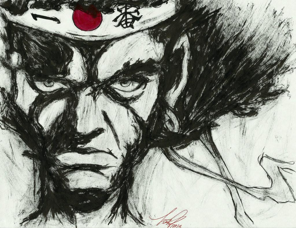 _cm__afro_samurai__ink_portrait__by_sprinklesprankles-d591k8h